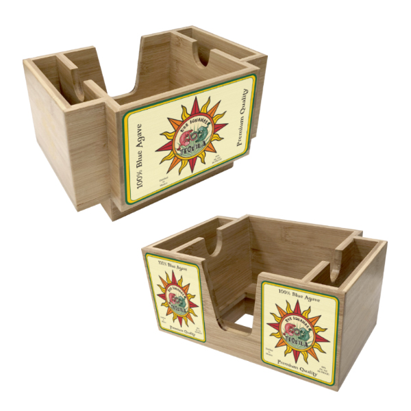 Wood Three-Compartment Napkin Holder - Blond