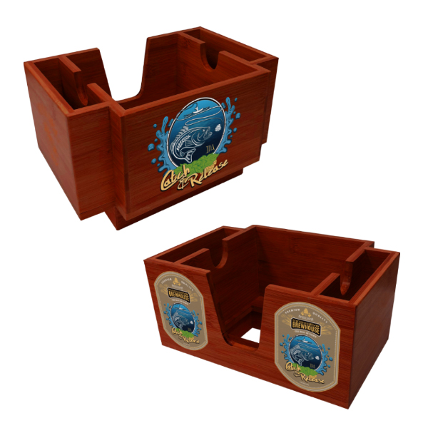 Wood Three-Compartment Napkin Holder - Cherry