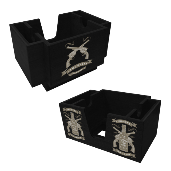 Wood Three-Compartment Napkin Holder - Black