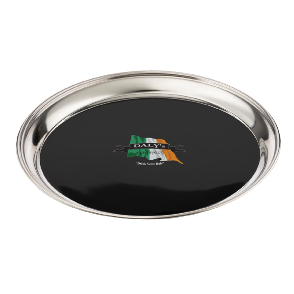 "Stainless Steel 14"" Round Bar Tray with Non-Skid Black Vinyl"